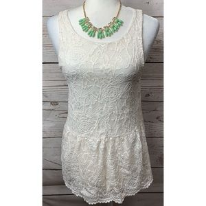 EUC White Birch Lace Sleeveless Top